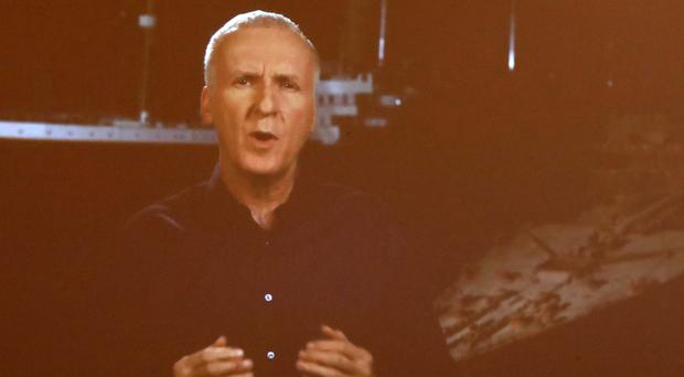 Film director James Cameron's video message was played to an audience at Titanic Belfast (Niall Carson/PA)