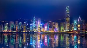The spectacular Hong Kong skyline from Kowloon.
