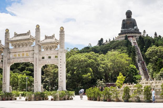 The Tian Tan Buddha, also known as the Big Buddha, on Lantau Island.