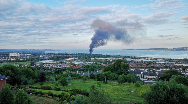 Large plume of smoke over Newtownabbey. Credit: Chris Woodhouse