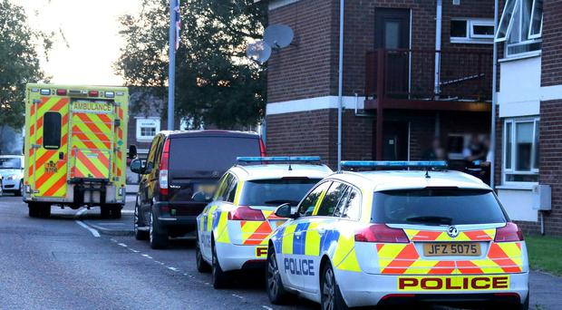 Police and paramedics at the scene of a serious incident in Trinity Drive Ballymoney. Picture Kevin McAuley/McAuley Multimedia