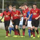 By George: Manchester United's George Walters after netting winner against Rangers