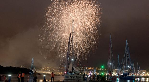 The spectacular fireworks display on Derry's River Foyle lights up the sky over the Clipper Round the World Yacht Race during the Voyages Showcase Finale during the Foyle Maritime Festival. Credit: Martin McKeown / ClipperRound The WorldRace