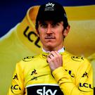 In control: Geraint Thomas increased his lead in the Tour