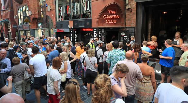 People outside the Cavern Club in Liverpool before an exclusive Sir Paul McCartney gig (Peter Byrne/PA)