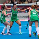 Anna O'Flanagan of Ireland celebrates netting the winner against India.