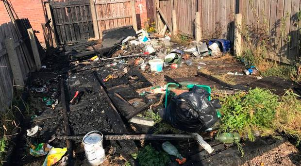Some of the damage caused by vandals, who have been causing misery to residents in the Etna Drive area of Ardoyne