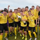 Pacemaker Press 27/07/18 SuperCupNI Junior CUP Final Co Antrim v Manchester United Co Antrim captain Cameron Stewart celebrates with team mates beating Manchester United's on penalty's in today's Final at the Showgrounds in Ballymena. Pic Colm Lenaghan/Pacemaker