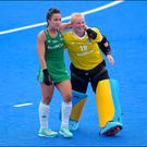Just tops: Goalkeeper Ayeisha McFerran (right) and scorer Anna O'Flanagan on a high after playing key roles in Ireland's historic win