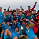 Happy days: B Italia celebrate with the SuperCup NI Senior trophy