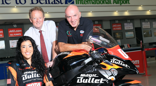 Taking off: the Ulster Grand Prix's fastest woman rider Patricia Fernandez, sponsor Belfast International Airport MD Graham Keddie and Dundrod Clerk of the Course Noel Johnston