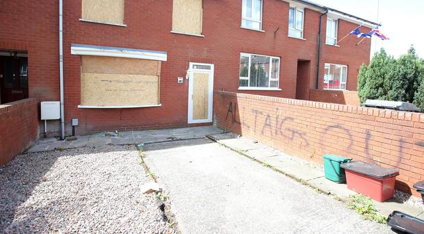 The scene on Summer Street in the Old Park area of north Belfast where a woman was forced out of her home by loyalist paramilitaries.