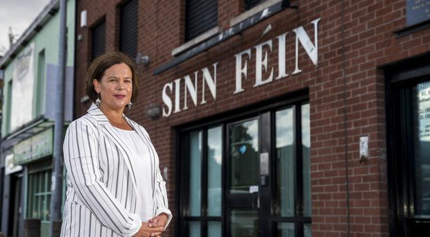 Sinn Fein President Mary Lou McDonald outside the party headquarters in Belfast (Liam McBurney/PA)