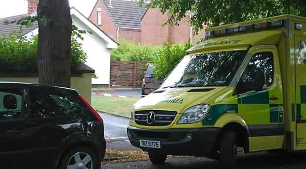 Ambulance crews at the scene. Picture Kevin McAuley.