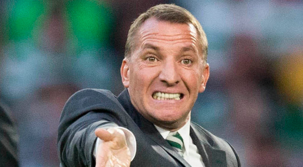 Shouting odds: Brendan Rodgers gives instructions to his Celtic players during their first-leg victory