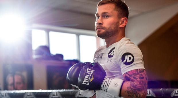 Focused on future: Carl Frampton in Manchester gym yesterday