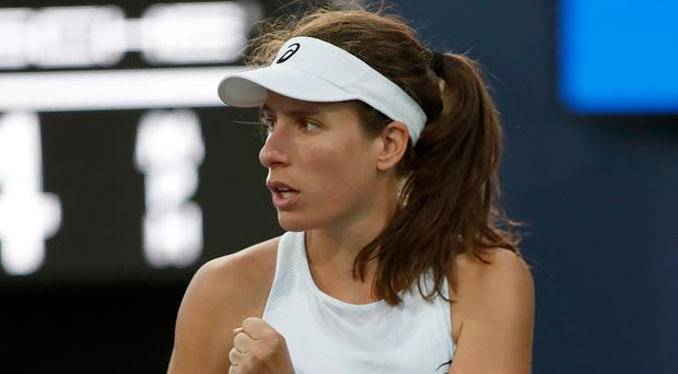 Big win: Johanna Konta after beating Serena Williams 6-1 6-0