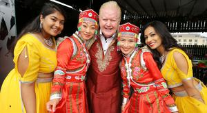 Pictured at the launch of the 12th Belfast Mela, together with Spar by the Lord Mayor of Belfast, Councillor Deirdre Hargey in Babel Rooftop today was Julian Simmons with traditional dancers from local Chinese and Indian Dance Groups. Photo by Kelvin Boyes / Press Eye.