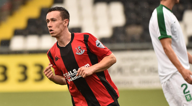Goal getter: Paul Heatley hails his strike against Olimpija Ljubljana at Seaview
