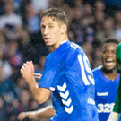 Head man: Rangers' Nikola Katic flicks home against Osijek at Ibrox
