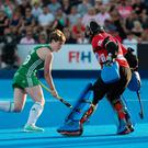 Ali Meeke slots her penalty through the legs of the goalkeeper to help Ireland reach the World Cup semi-finals.