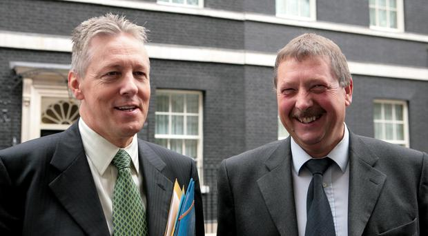 Peter Robinson with Sammy Wilson (Katie Collins/PA)