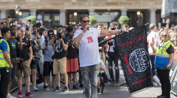 David Hasselhoff got the crowds going at the start of the Gumball 3000 (David Mirzoeff/PA)