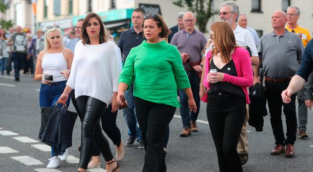 Sinn Fein President Mary Lou McDonald (centre) with MP for Foyle, Elisha McCallion (centre left) during the 37th National Hunger Strike Commemoration in Castlewellan, County Down, Niall Carson/PA Wire