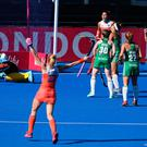 Netherland's Kelly Jonker (R) celebrates after scoring the second goal during the gold medal final field hockey match between the Netherlands and Ireland at the 2018 Women's Hockey World Cup at the Lee Valley Hockey and Tennis Centre in London on August 5, 2018. / AFP PHOTO / Daniel LEAL-OLIVASDANIEL LEAL-OLIVAS/AFP/Getty Images