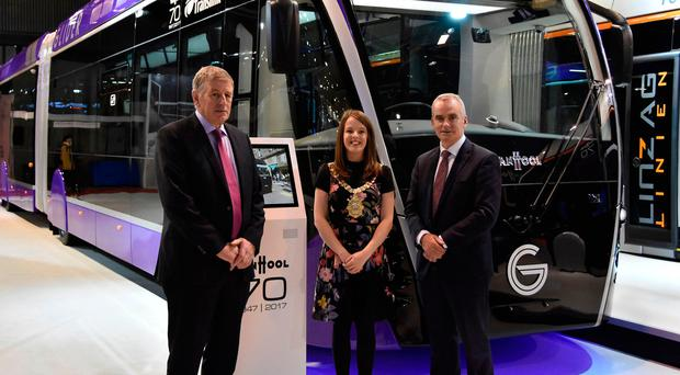 Ciarán de Búrca, Director of Transport Projects, Department for Infrastructure, Cllr Nuala McAllister and Chris Conway, Group Chief Executive, Translink