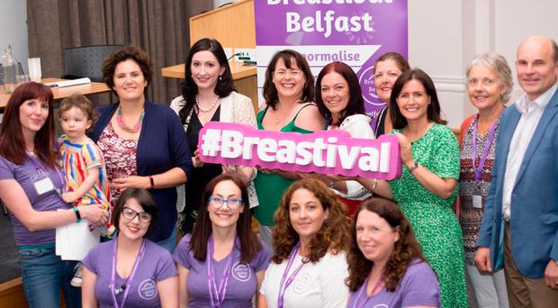 Politicians Claire Hanna, Emma Little-Pengelly, Michelle Gildernew, Claire Bailey, Paula Bradshaw and Roy Beggs attend the Global Big Latch On breastfeeding promotion and support event at the Ulster Museum
