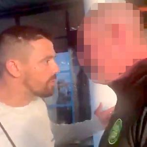 An image from social media footage of ex-Rangers star Nacho Novo during the airport confrontation