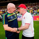 Shake on it: Donegal's Declan Bonner and Tyrone's Mickey Harte