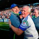 All smiles: Monaghan boss Malachy O'Rourke (left) celebrates at the finish