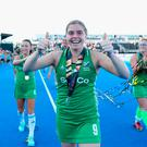 Thumbs up: Ireland captain Katie Mullan still had plenty to smile about after an extraordinary World Cup