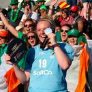 Ayeisha McFerran celebrates with supporters after being named Best Goalkeeper of the Tournament at the World Cup.
