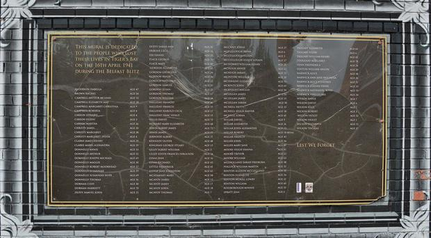 The attack on the Belfast Blitz memorial.