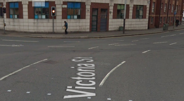 The junction of Waring Street and Victoria Street close to where the attack took place.