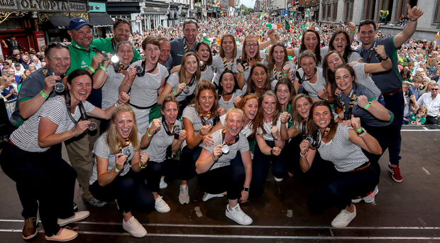 Heroes' welcome: The Ireland team in Dublin yesterday