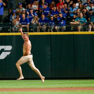 A streaker runs across right field during the ninth inning of the game between the Toronto Blue Jays and Seattle Mariners at Safeco Field on August 4, 2018 in Seattle, Washington. (Photo by Lindsey Wasson/Getty Images)