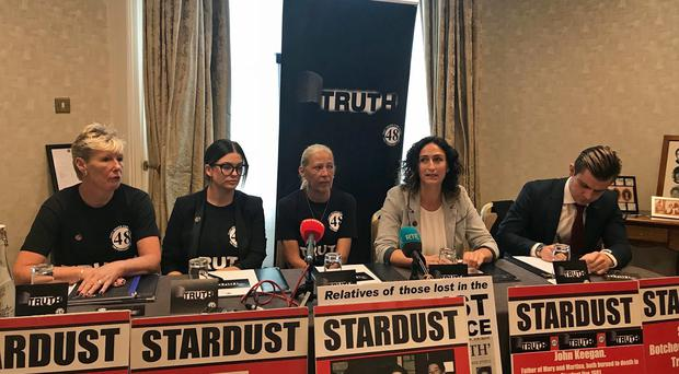 Members of the Stardust Justice Campaign at a press conference in Dublin (Aoife Moore/PA)