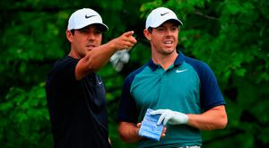 Making a point: Caddie Harry Diamond and Rory McIlroy gear up for the US PGA at Bellerive