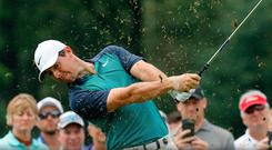Taking aim: Rory McIlroy during a US PGA practice round in St Louis yesterday