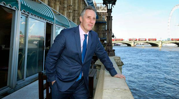 Ian Paisley on the terrace at the Houses of Parliament