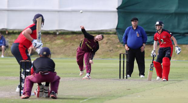 Taking aim: Andy Lucas, one of the many successes for Bready this year, bowling in last season's Ulster Cup final