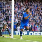 Perfect start: Rangers' Alfredo Morelos celebrates after giving his side an early lead