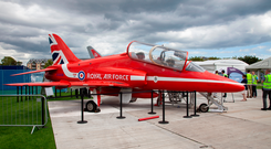 The Red Arrow's BAE Hawk on display in Donard Park