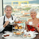 Pamela Ballantine is pictured with Ross Thompson of Thompson's Teas enjoying Afternoon Tea in the Observatory.