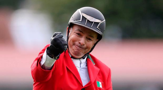 On our way: Mexico's Enrique Gonzalez after a crucial clear round in Dublin