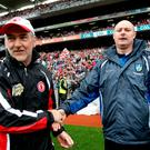 Join the club: Tyrone manager Mickey Harte (left) and Monaghan boss Malachy O'Rourke, both from the Errigal Ciaran club in Ballygawley